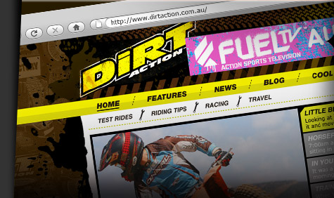Extreme Sports Moto-X website design for the popular magazine Dirt Action